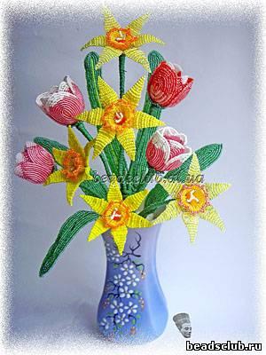 тюльпаны нарциссы из бисера
