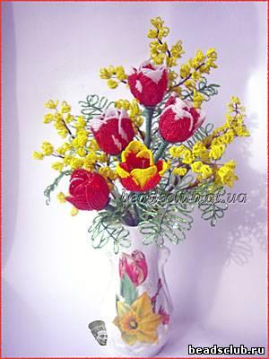 Тюльпаны и мимоза- С