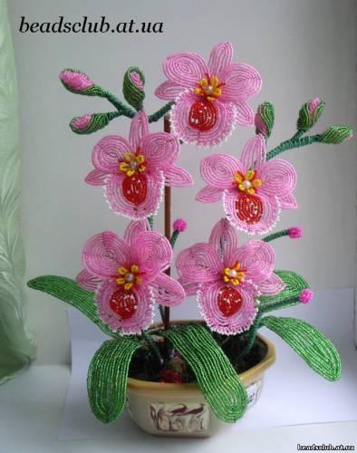 бисероплетение орхидея зелено